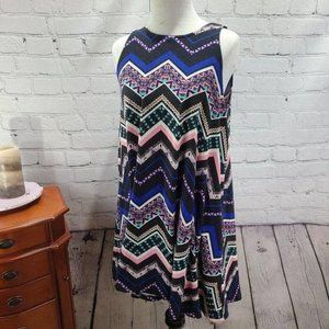 planet gold multi colored zigzag tank top